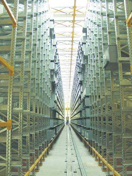 Impianto automatico - scaffalature servite da traslo - elevatore